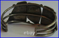 Spectacular Vintage Navajo Silver Big Stones Spiderweb Turquoise Bracelet