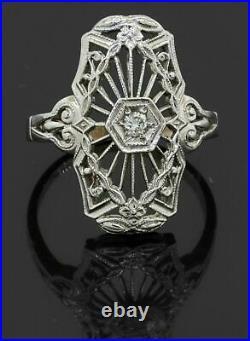 SpiderWeb Filigree Edwardian Engagement Ring 0.35 Ct Diamond 14K White Gold Over