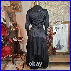 Spiderweb Antique Victorian Edwardian Black Silk Chiffon Dress Witchy Gothic
