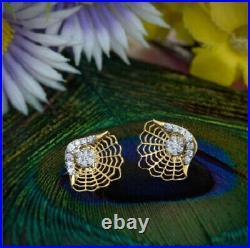 Spiderweb Filigree Anniversary Stud Earrings 14K Yellow Gold Over 2.3 Ct Diamond