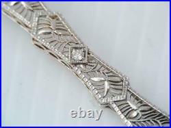 Spiderweb Filigree Elongated Edwardian Pendant 14K White Gold 1.1Ct VVS1 Diamond