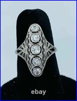 Spiderweb Filigree Victorian Engagement Ring 3.21 Ct Diamond 14K White Gold Over