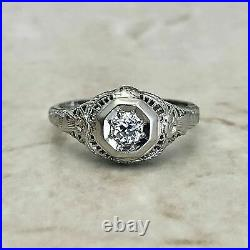 Spiderweb Filigree Wedding Vintage Art Deco Ring 1Ct Diamond 925 Sterling Silver