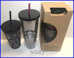 Starbucks 2019 Halloween Glitter Spiderweb + Skull Tumbler & Reusable set