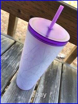 Starbucks 2021 Purple and Frosted White Spiderweb Halloween Tumbler 24oz HTF