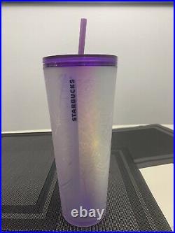 Starbucks 2021 purple and white spiderweb halloween tumbler 24oz