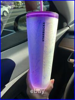 Starbucks Halloween 2021 Purple and Frosted White Spiderweb Tumbler 24oz