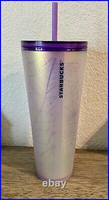 Starbucks Purple and White Spiderweb Halloween 2021 Tumbler 24 oz NEW NWT