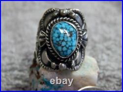 Sterling Black Spiderweb Turquoise Unisex Ring Navajo Lorenzo James Size 7