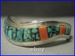 Thick Green Spiderweb Turquoise Harry Jim Vintage Navajo Silver Bracelet