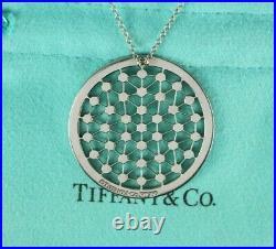 Tiffany Co Cobblestone Platinum Bezel Diamond Spider Web Circle Pendant Necklace