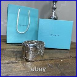 Tiffany & Co Sterling Silver & 18K Gold Spider Web Bangle Cuff Bracelet box bag