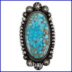 Turquoise Ring Sterling Silver AARON TOADLENA Natural Spiderweb Kingman 8 Navajo