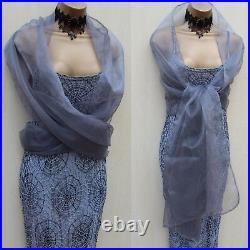 UK 10 KAREN MILLEN 2 Silver Spider Web Beaded Crochet Bodycon Maxi Long Dress