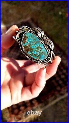 VIDEO! 5.5 Navajo Sterling Teal Blue Spiderweb Turquoise Leaf Cuff Bracelet