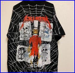VINTAGE METALLICA HEAVY METAL TOUR T SHIRT spider web PUSHEAD XL