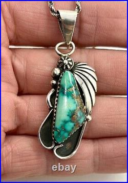 VTG Navajo Sterling Silver Natural Green Spiderweb Turquoise Pendant Necklace
