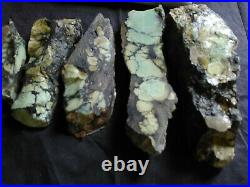 Variscite slabs & rough, mint green spiderweb, 326grams, 5 pieces