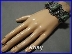 Very Rare Vintage Navajo Triple Spiderweb Turquoise Sterling Silver Bracelet Old