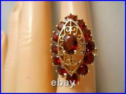 Victorian Edwardian Spiderweb Filigree Ring 2.1Ct Oval Ruby 14K Yellow Gold Over