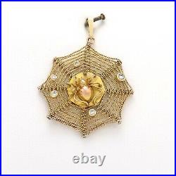 Vintage 14k Rose and Yellow Gold Diamond Spider Web Charm Pendant