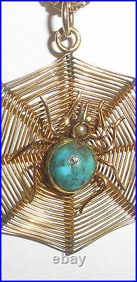 Vintage 18k 750 Gold Unoaerre 22 chain Chinese spider web turquoise necklace