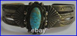 Vintage 1940's Navajo Indian Sterling Silver Spiderweb Turquoise Bracelet