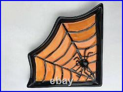 Vintage 4 GANZ Halloween Spider Web Party Triangle DISHES PLATES Decorations NEW