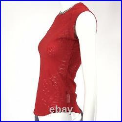 Vintage 90s Y2K Rare Red Knit Design Girl & Spiderweb Babydoll Tee