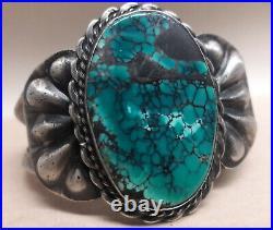 Vintage Black Matrix Spiderweb turquoise Sterling Silver Cuff Bracelet 54 grams