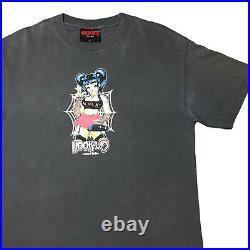 Vintage HOOK-UPS Tshirt Goth Milk Girl Spider Web 90s Skate Tee sz LARGE Rare