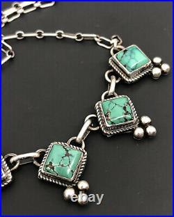 Vintage Joe Delgarito Navajo Spiderweb #8 Turquoise Sterling Silver Necklace