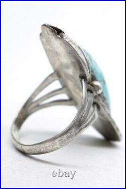 Vintage NAVAJO Sterling #8 Spider Web Turquoise Ring SIGNED RARE Old Pawn EUC