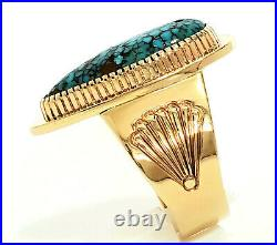 Vintage Navajo 14k Gold Mens Ring with #8 Spiderweb Turquoise Size 13 Livingston