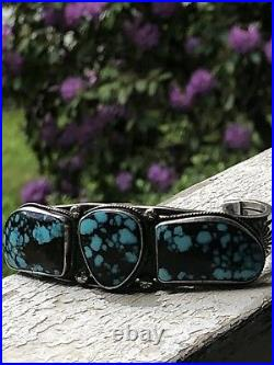 Vintage Navajo Spiderweb Turquoise & Sterling Silver Cuff Bracelet, Verdy Jake
