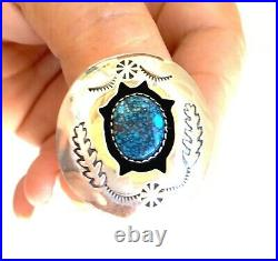 Vintage Shadow Box Sterling & Gem Quality Spider Web Turquoise Ring Signed