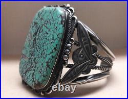 Vintage Spiderweb Turquoise Sterling Silver cuff bracelet 79 grams