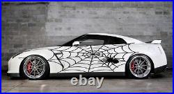 Vinyl Car Side Body Graphics Decal Sticker Spider Web Black fit any auto
