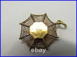 Vtg 10K Gold Spider Spiderweb Pendant Figural Ornate Spooky Goth Creepy Arachnid