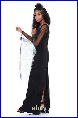 Vtg 90s Black Sheer Bell ANGEL SLEEVES Goth Witchy Spider Web Coven Maxi Dress M