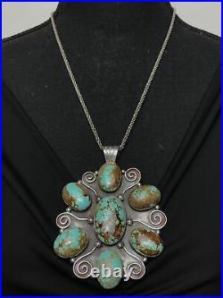 Vtg Huge 78g Navajo 7 Cluster Spiderweb Turquoise Sterling Silver Pendant