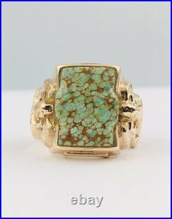 Vtg Navajo 14k Yellow Gold Spiderweb Carico Lake Green Turquoise & Snake Ring