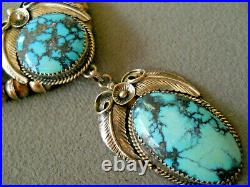 Wow! Native American Spiderweb Turquoise Sterling Silver Bead Necklace Earrings