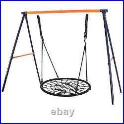 Yellow Powder-Coat Painted Steel Swing Frame + 40 Spider Web Swing Max 600 lbs