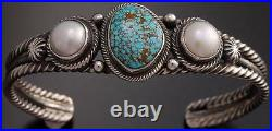 ZBM # 8 Spiderweb Turquoise Pearl Silver Bracelet by Erick Begay GA40G