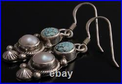 ZBM No. 8 Spiderweb Turquoise and Pearl Earrings by Erick Begay EF32G