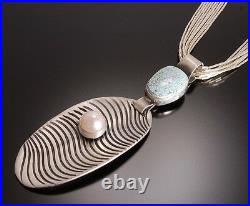 ZBM Superb #8 Spiderweb Turquoise and Pearl Sand Pendant by Erick Begay TO11I